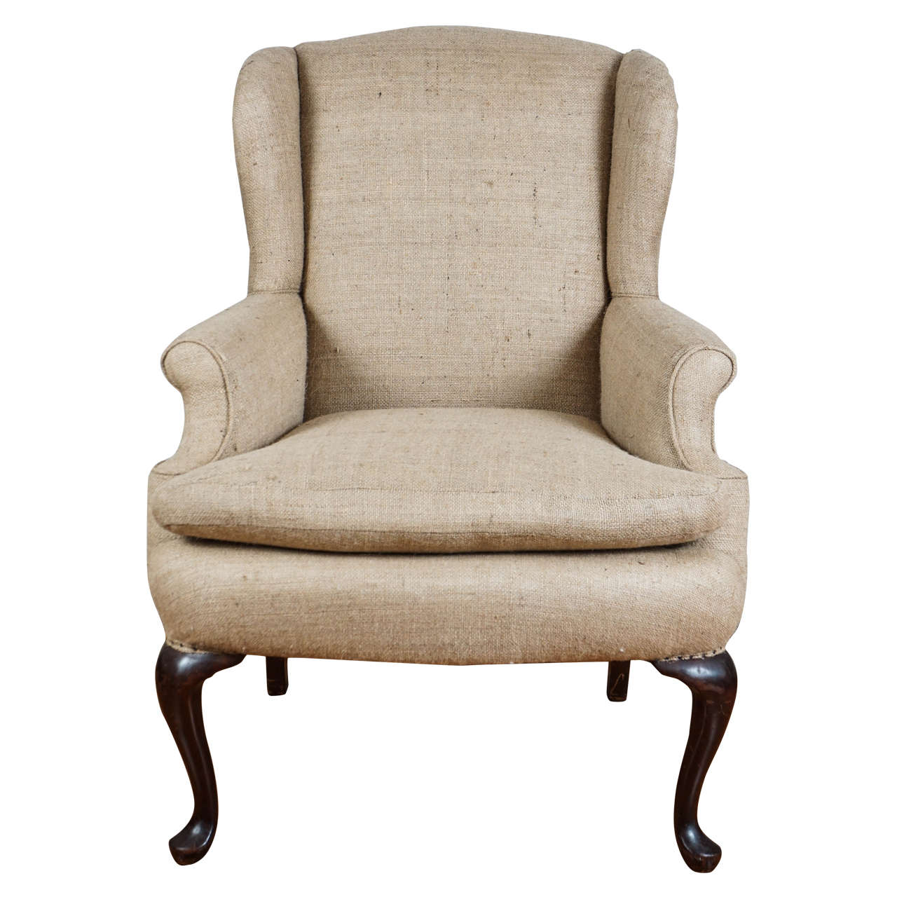 Genial Burlap Wingback Chair For Sale