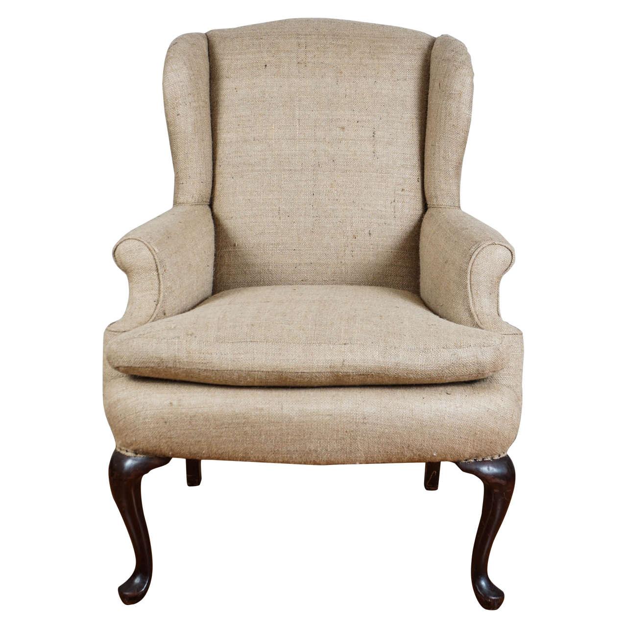 Merveilleux Burlap Wingback Chair For Sale