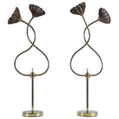 Pair of Brass Lamps with Mesh Flowers