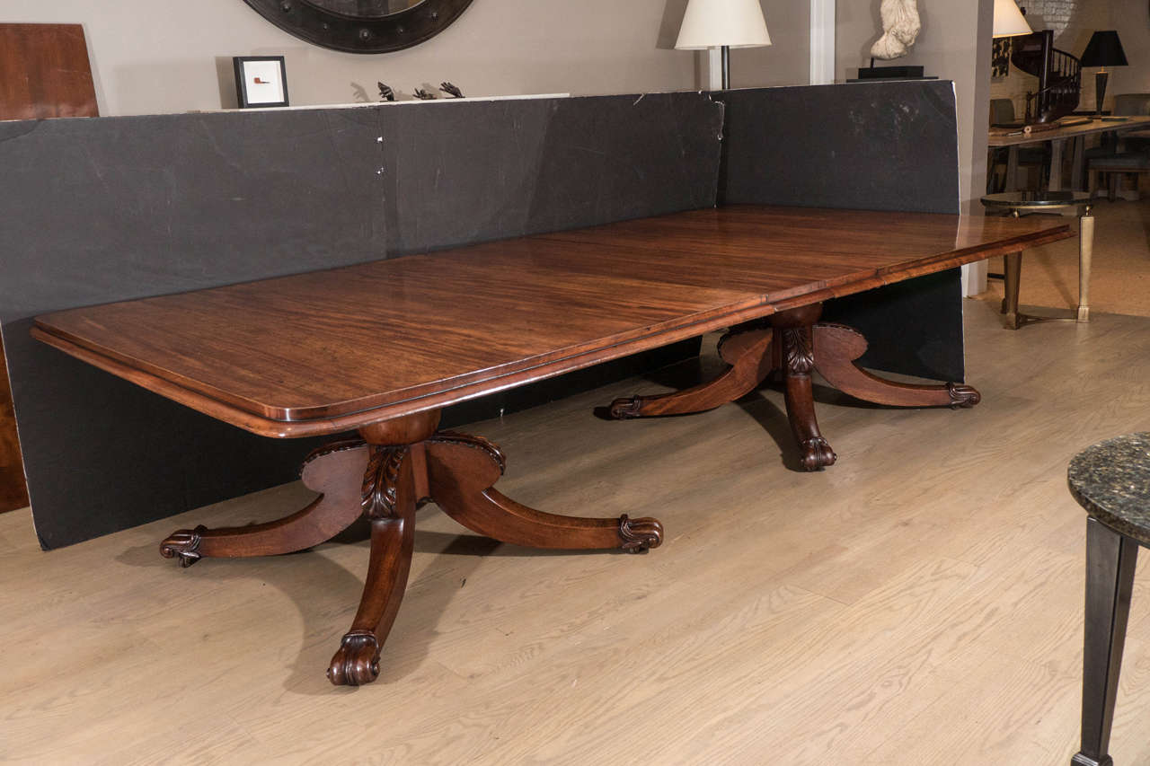 Irish Mahogany Twin Pedestal Dining Table Attributed To Williams And Gibton F