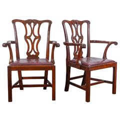 Pair of Mahogany 19th Century Chippendale Style Armchairs