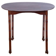 Regency Oval Topped Mahogany Side Table on Casters