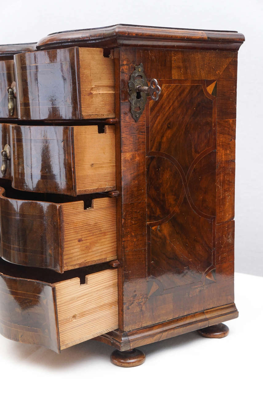 19th Century German Rococo Style Walnut Inlaid Miniature Chest of Drawers or Jewelry Box For Sale