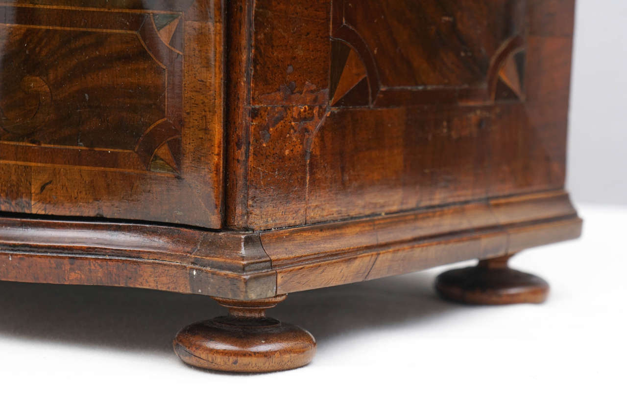 German Rococo Style Walnut Inlaid Miniature Chest of Drawers or Jewelry Box For Sale 3