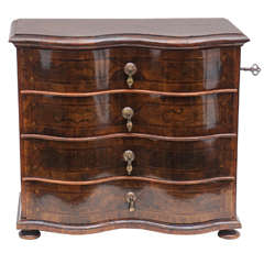 German Rococo Style Walnut Inlaid Miniature Chest of Drawers or Jewelry Box