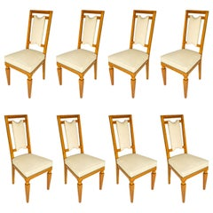Eight Italian Solid Cherrywood Chairs, 1940