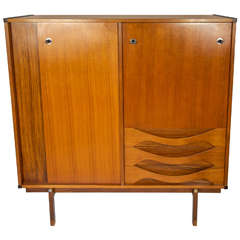 Mid century Italian 1950s Teak and  exotic wood Cabinet