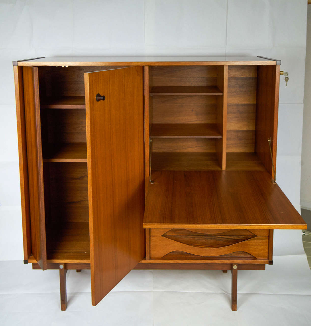 Italian 1950s teak and rosewood cabinet for sale at 1stdibs for Italian cabinets