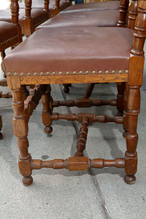Set of Ten Leather and Oak Dining Chairs For Sale 1