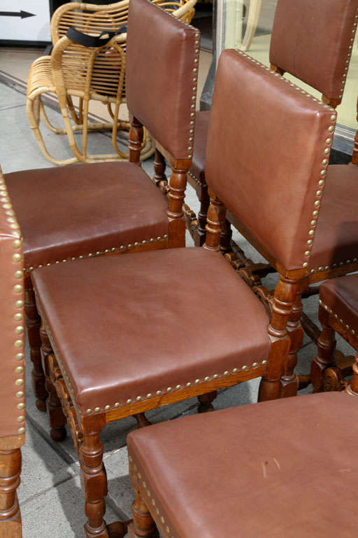 Set of Ten Leather and Oak Dining Chairs For Sale 2