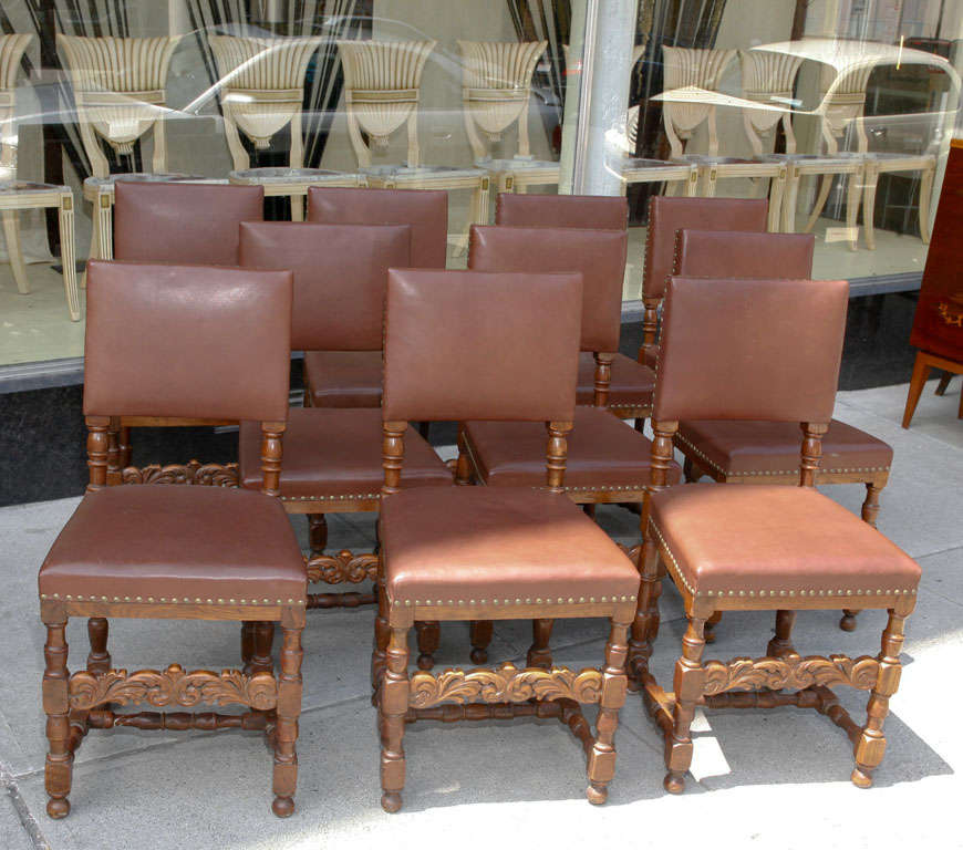 Set of Ten Leather and Oak Dining Chairs For Sale 3