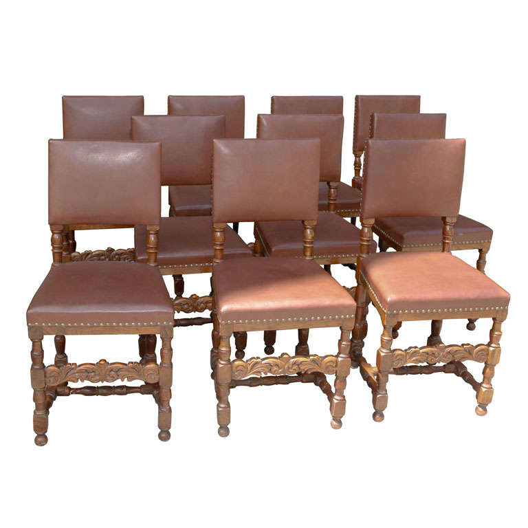 Set of Ten Leather and Oak Dining Chairs For Sale