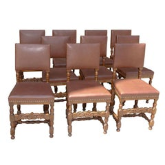 Set of Ten Leather and Oak Dining Chairs