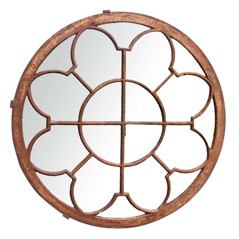 Round metal frame mirror at stdibs