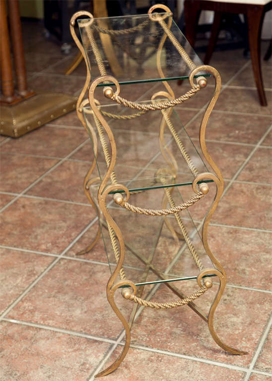 French Metal and Glass End Table  For Sale