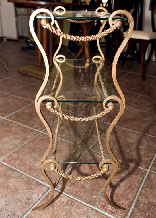 Mid-20th Century Metal and Glass End Table  For Sale