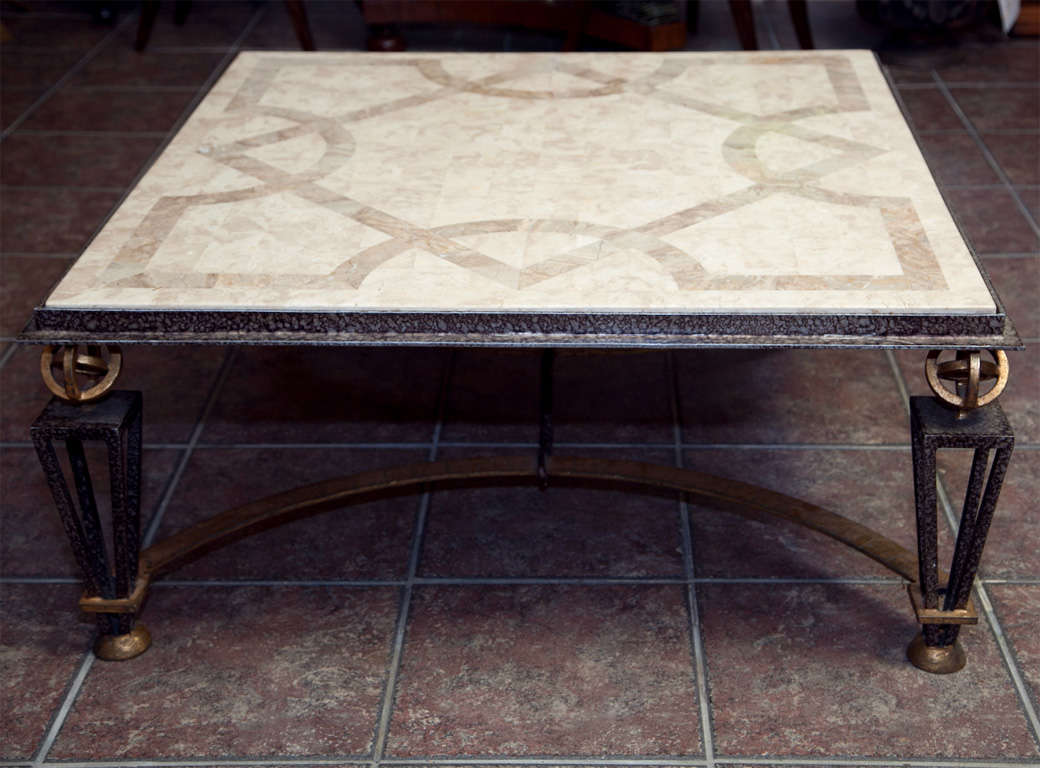 Metal and marble square coffee table for sale at 1stdibs for Metal and stone coffee table