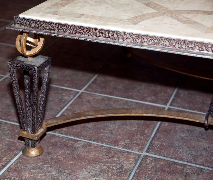 Metal and marble square coffee table at 1stdibs Metal square coffee table