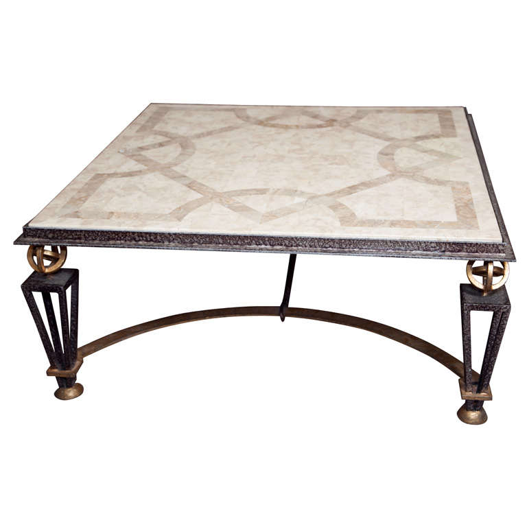 Metal and marble square coffee table for sale at 1stdibs Metal square coffee table