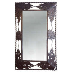 Forged Iron Floral Motif Mirror
