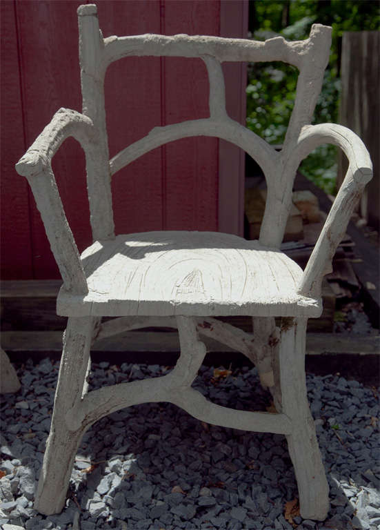 Cement Arm Chairs ~ Pair of faux bois cement armchairs at stdibs