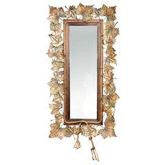 Unique Bronze Maple Leaf Decor Mirror
