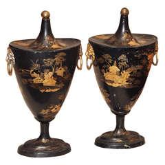 Continental Tole Chestnut Urns