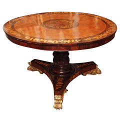 English Regency Marquetry  Tilt Top Center Table