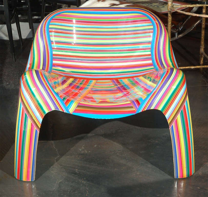 Pair of Colorful Striped Vintage Armchairs by Mauro Oliveira 3