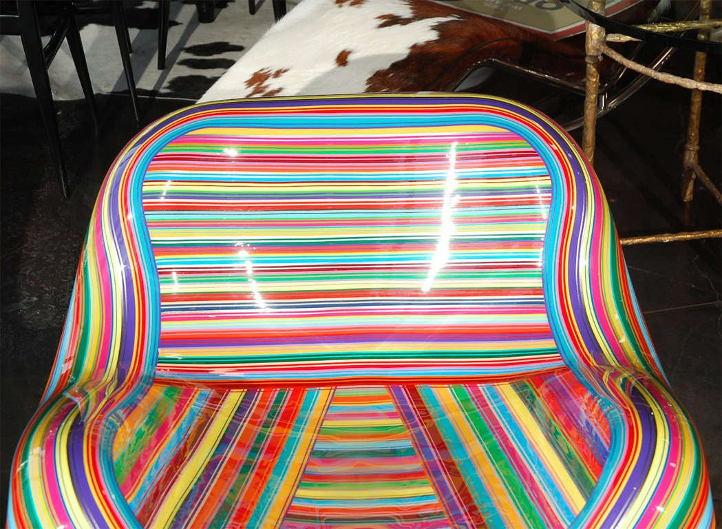 Pair of Colorful Striped Vintage Armchairs by Mauro Oliveira 5