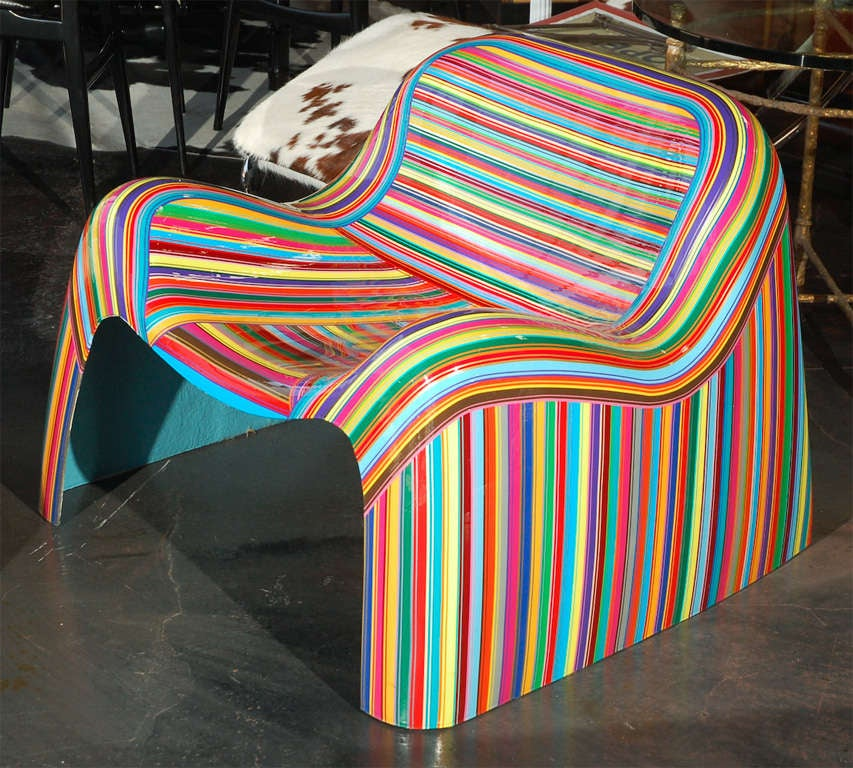 Pair of Colorful Striped Vintage Armchairs by Mauro Oliveira 6