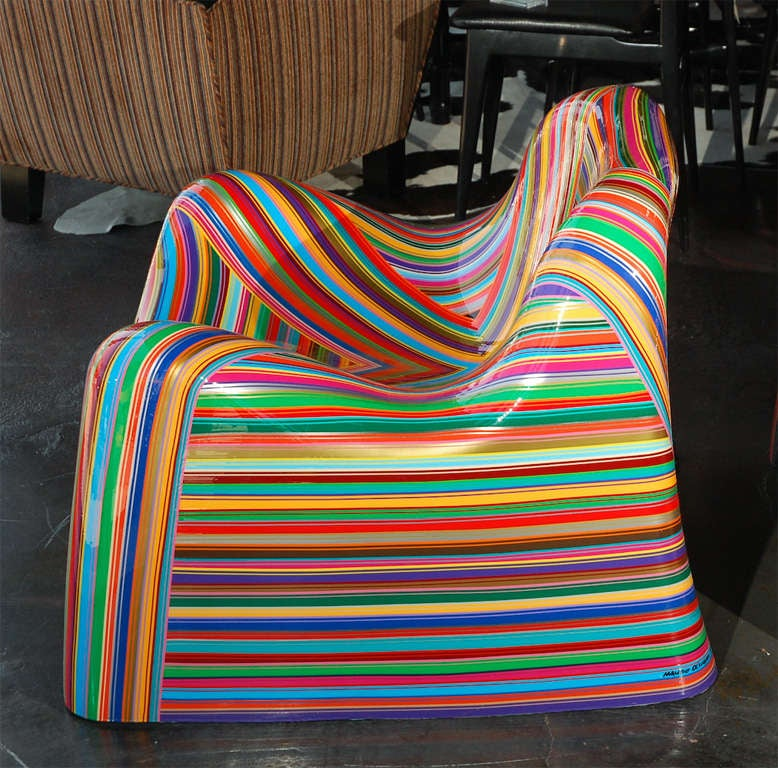 Pair of Colorful Striped Vintage Armchairs by Mauro Oliveira 7