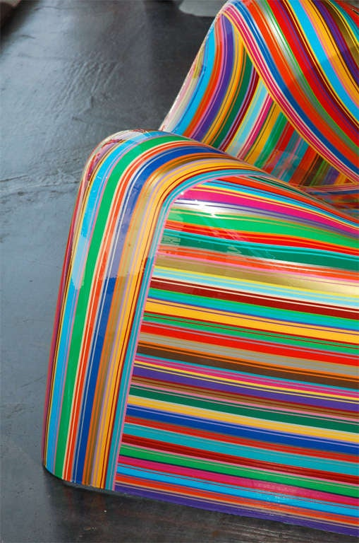 Pair of Colorful Striped Vintage Armchairs by Mauro Oliveira 8