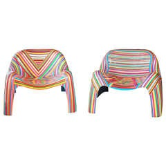 Pair of Colorful Striped Vintage Armchairs by Mauro Oliveira