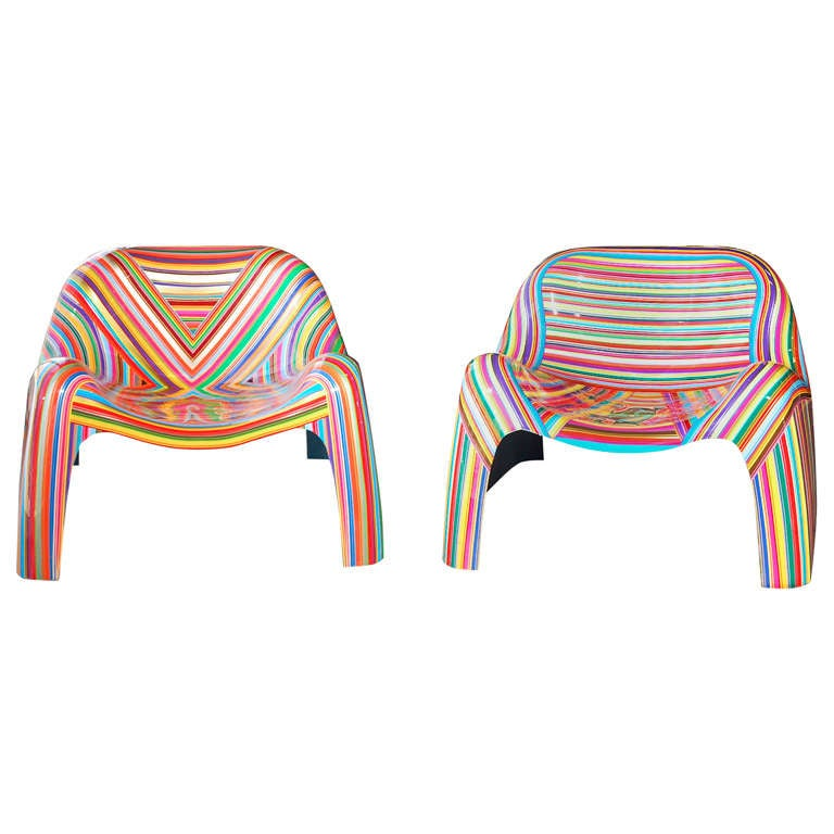 Pair of Colorful Striped Vintage Armchairs by Mauro Oliveira 1
