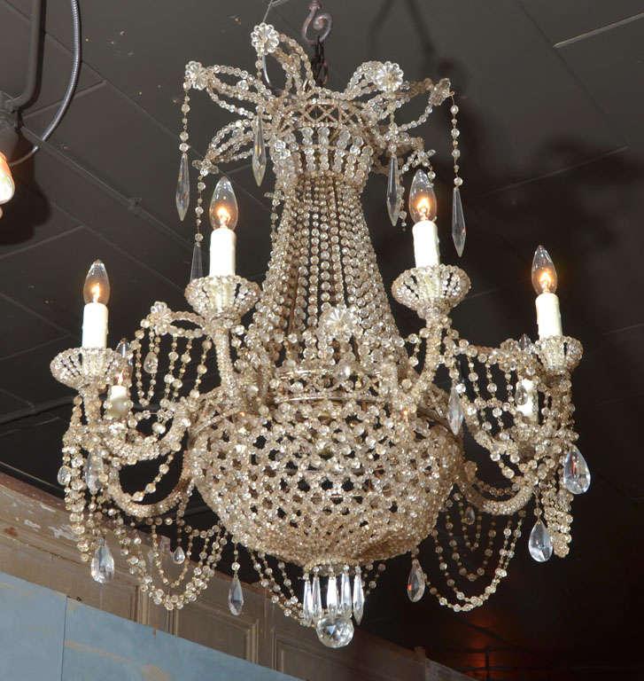 19th c. Italian Crystal and Beaded Chandelier 2