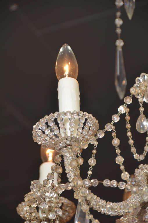 19th c. Italian Crystal and Beaded Chandelier 3