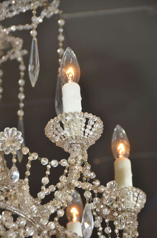 19th c. Italian Crystal and Beaded Chandelier 4