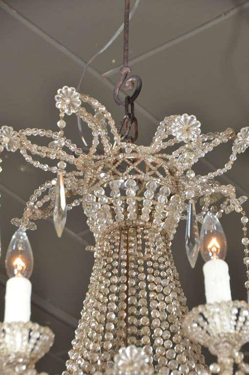 19th c. Italian Crystal and Beaded Chandelier 5