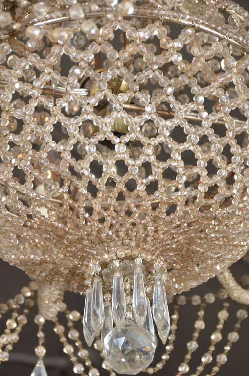 19th c. Italian Crystal and Beaded Chandelier 6