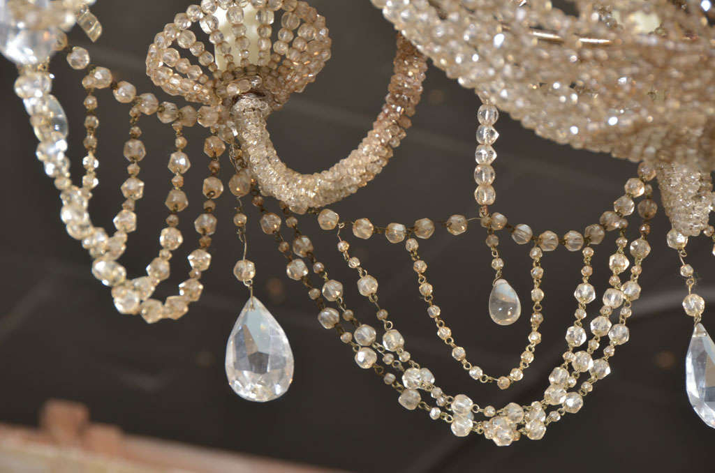 19th c. Italian Crystal and Beaded Chandelier 7