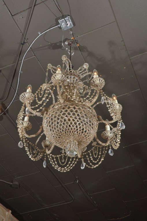19th c. Italian Crystal and Beaded Chandelier 8