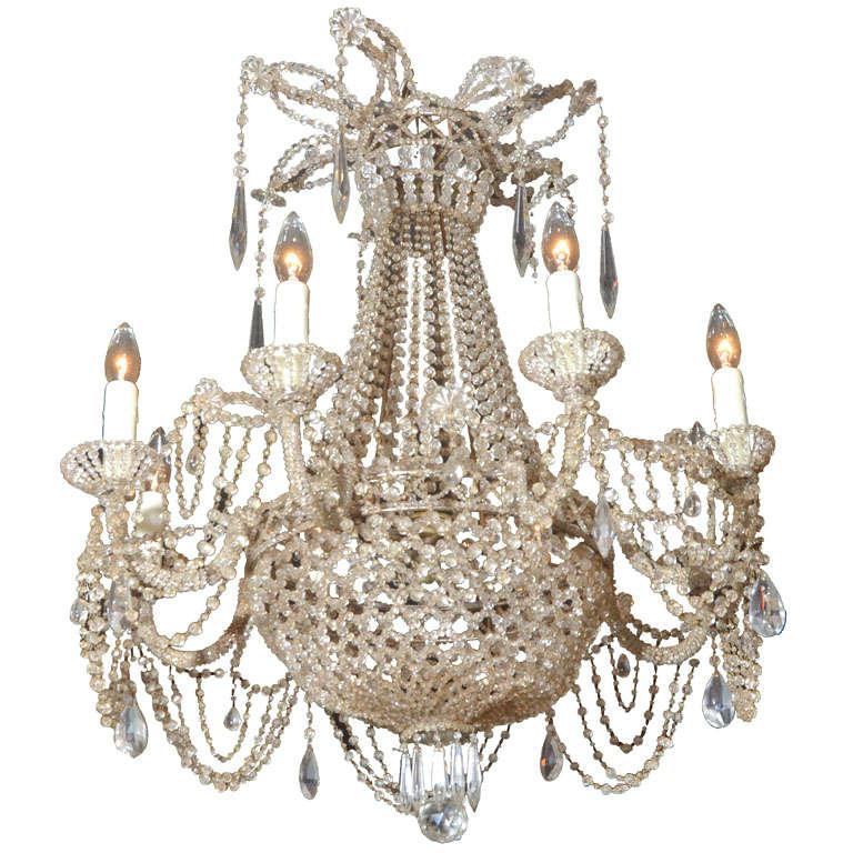 19th c. Italian Crystal and Beaded Chandelier 1