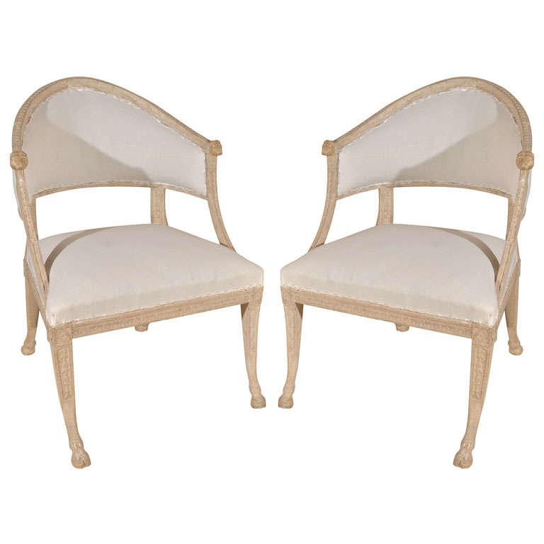 Pair swedish barrel back chairs at 1stdibs
