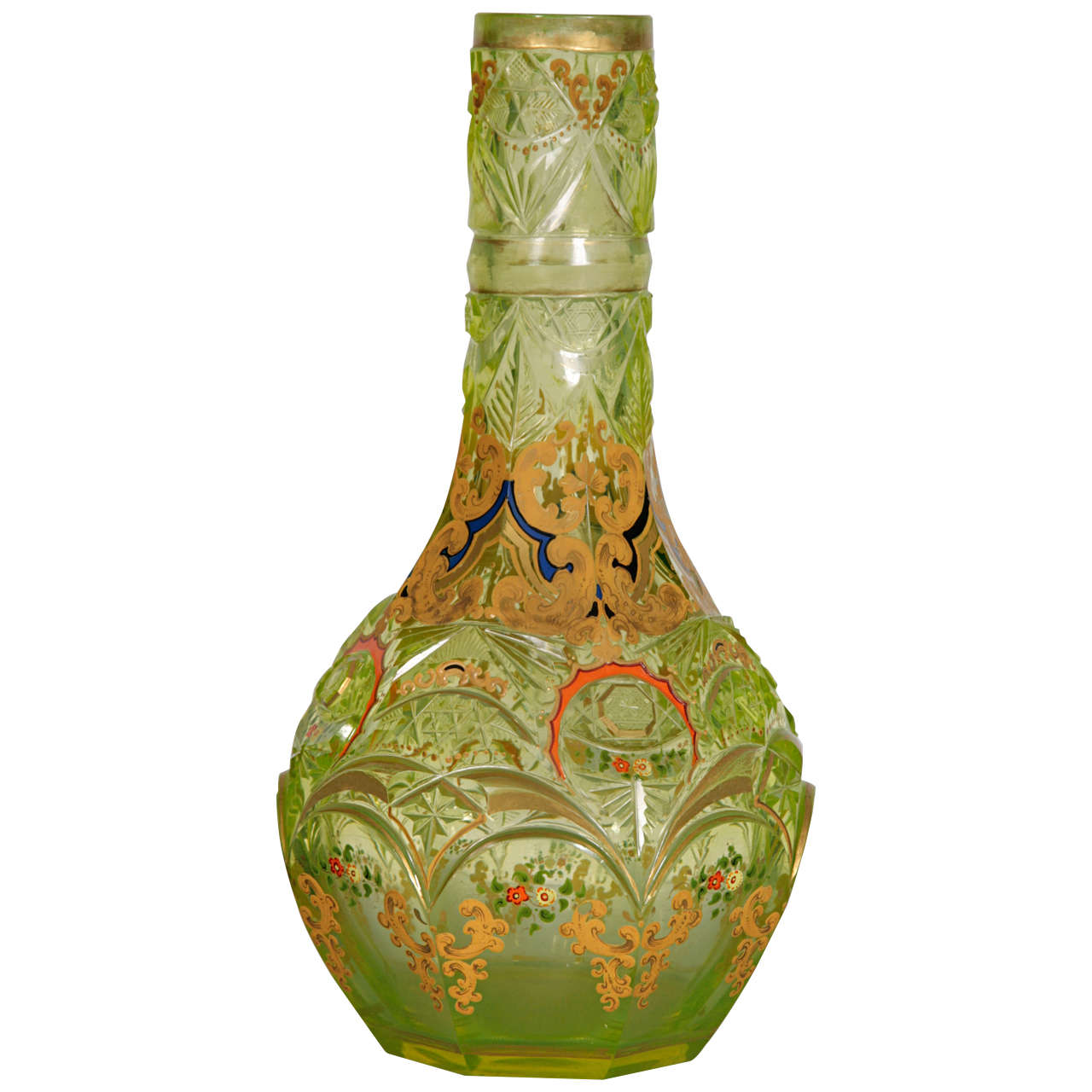 Bohemian Glass Hookah Vase At 1stdibs