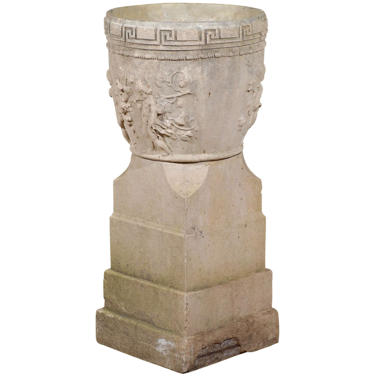 Tall English Neoclassical Style Urn on Base with Greek Key and Bacchanal Theme