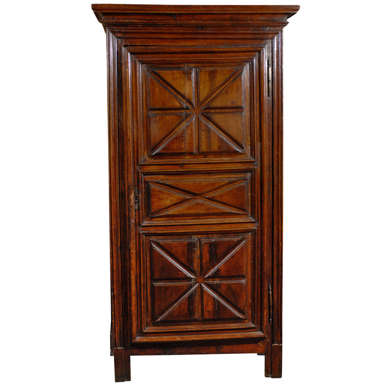 18th century french bonneti re armoire with geometric patterns on single door for sale at 1stdibs. Black Bedroom Furniture Sets. Home Design Ideas