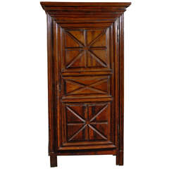 18th Century French Bonnetière Armoire with Geometric Patterns on Single Door