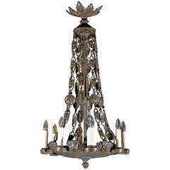 Antique Chandelier. Very Unusual Bronze Chandelier