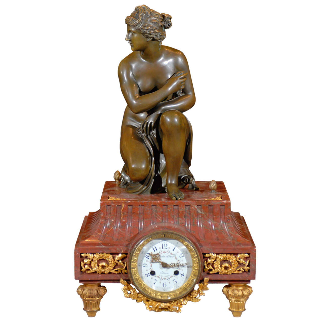 Gilt Bronze and Marble Figural Clock